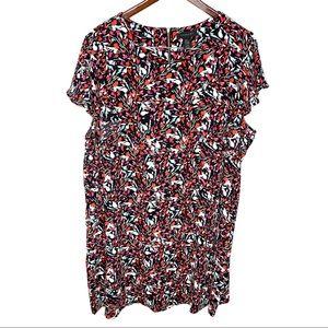 Tahari Floral Bird Print Black Pink Sheath Dress